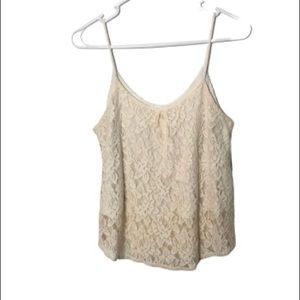 UO Pins & Needles lace overlay tank top small